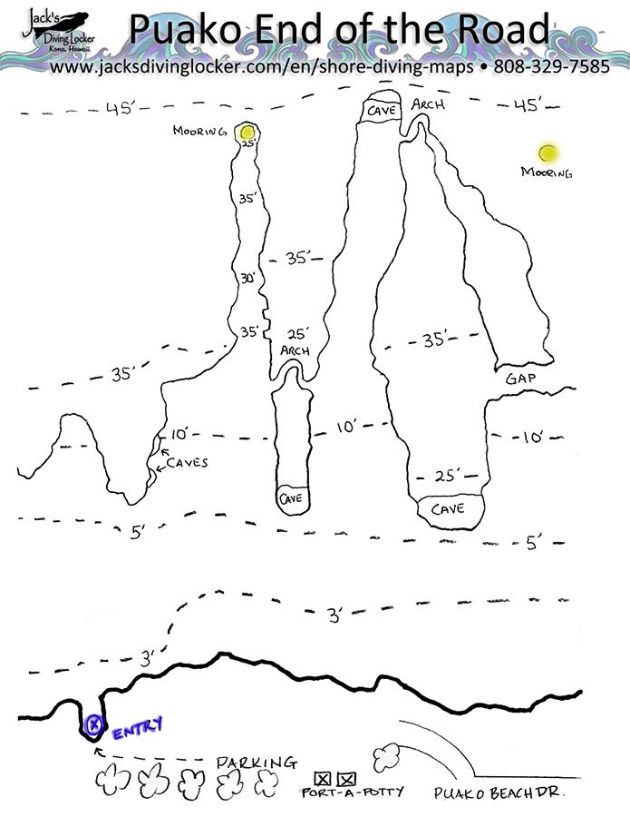Mahukona Dive Site Map, Big Island Hawaii