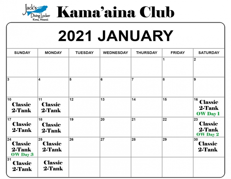 Club Jan 2021 Calendar